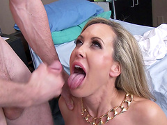 Fake tits wife Brandi Love drops on her knees to have nice sex