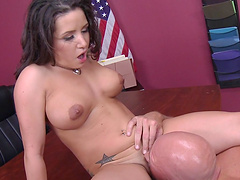 Shaved pussy mature Charity Bangs spreads her legs to be fucked
