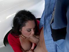 Nice fake boobs Dayton Rains gives a titjob and rides like a pro