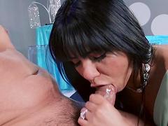 Brunette slut Rose Monroe tease a stranger and gets fucked