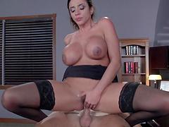 Ariella Ferrera with glasses enjoys having passionate office sex