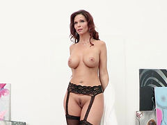 Anal fucking on the sofa with mature wife Syren De Mer in lingerie