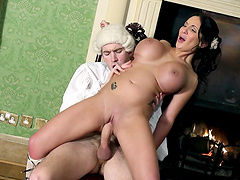 Kinky wife Emily B teases with her big tits and gets fucked good
