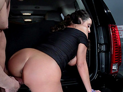 Busty brunette Ariella Ferrera fucked and gets cum in mouth