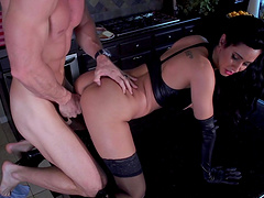 Fit brunette Isis Love in high heels rides like a pro and moans