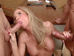 Erotic MMF threesome with double penetration for Simone Sonay