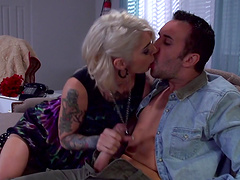 Tattooed blonde cheating wife Kleio Valentien fucked by her lover