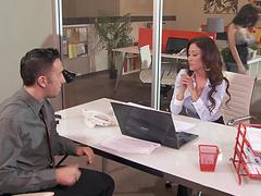 Office sluts Aleksa Nicole and Capri Cavanni fucked by one dude
