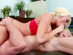 Blonde pornstar Summer Brielle gets fucked on the office table