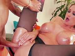 Provocative blonde model Blake Rose ass fingered and fucked