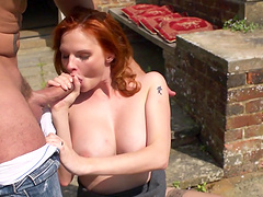 Cute redhead model Tarra White fucked and earns cum in mouth