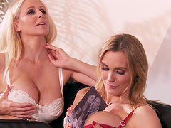 FFM threesome with horny pornstars Julia Ann and Tanya Tate
