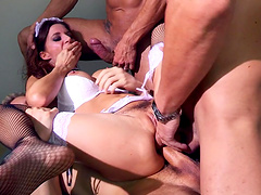 Gangbang with double penetration for stunning star Gia Dimarco