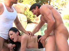 Anal and triple penetration with cum in mouth for Hailey Young