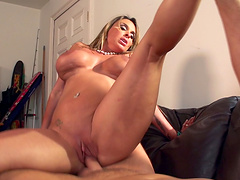 Fucking on the leather sofa with shaved pussy Holly Halston