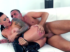Dirty slut Christy Mack likes to suck a dick and gets ass fucked