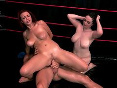 Big dick guy pleasures Jessica Robbin and Tessa Lane at the same time