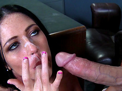 Aryana Augustine moans during passionate fucking on the office table