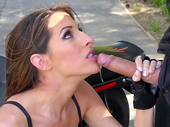 Outdoor fucking on the chopper with slutty darling Kortney Kane