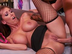 Busty mature wife Alia Janine enjoys getting fucked balls deep