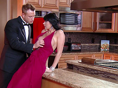 Mature slut Eva Karera teases and gets fucked in the kitchen