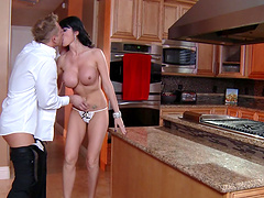 Mature slut Eva Karera teases and gets fucked in the kitchen