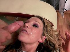 Blonde wife Nikki Sexx in stockings rides her lover's manhood