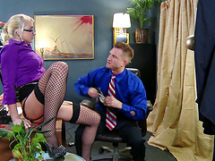 Busty wife Leya Falcon in black stockings fucked in all holes