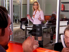 Pornstar Devon drops her dress to be fucked in the office