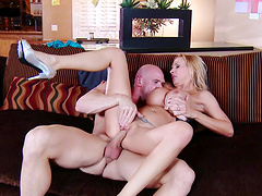 Busty wife Brooke Tyler moans during sex on the living room floor