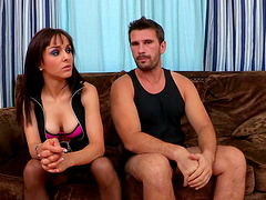 Cougar Cytherea teases him with stockings and rides while moaning