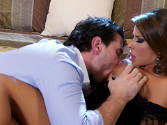 Pornstar Madison Ivy enjoys getting face fucked + cum on tits