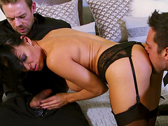 Wife Vanilla Deville shared by her hubby and gets face fucked