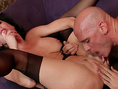 Brunette Veronica Avluv in lingerie makes her client fuck her brains out