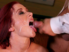 Shy redhead Jayden Jaymes is curious about a pulsating rod
