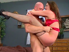 Sexy girl Samantha Ryan bends over for a skillful hunk's prick