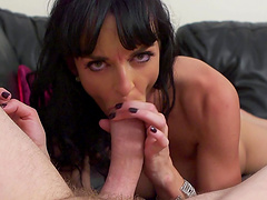 Brunette chick Lena Franks with fake boobs gets fucked by a large dick