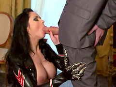 Brunette chick Anastasia Brill with large fake tits, fucked