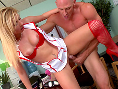 Quickie fucking on the table with blonde secretary Molly Benett