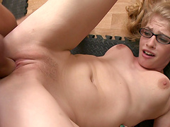 Creampie ending for sexy blonde Aliie James after wild fucking