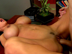 Sexy mature pornstar Jewels Jade with massive bazooms riding a cock