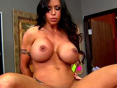 Sexy mature pornstar Jewels Jade with massive bazooms riding a cock