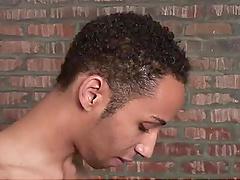 Kinky white gay man enjoys jerking off his black gay lover