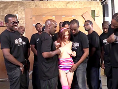 Redhead Cowgirl With Big Tits Getting Facial Cumshot After Being Gangbanged